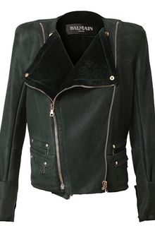Balmain Leather and Shearling Biker Jacket - Lyst