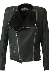 Balmain Leather and Shearling Biker Jacket in Green (emerald) - Lyst