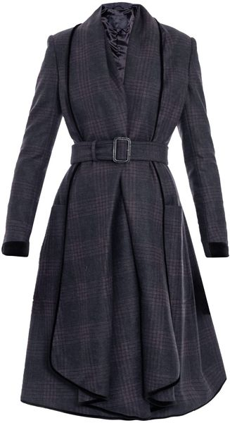 Burberry Prorsum Check Waterfall Coat - Lyst