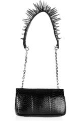 Christian Louboutin Artemis Spiked Water Snake and Leather Shoulder Bag in Black - Lyst
