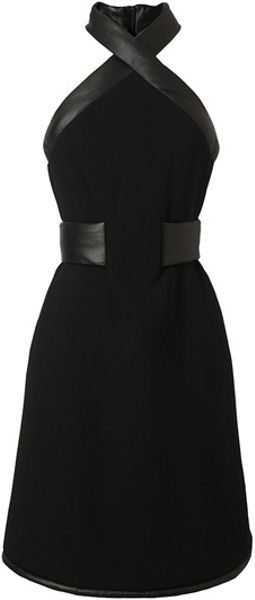 Christopher Kane Leather Trimmed Crepe Wool Halterneck Dress in Black - Lyst