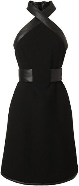 Christopher Kane Leather Trimmed Crepe Wool Halterneck Dress in Black