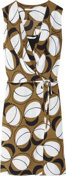 Diane Von Furstenberg Odette Printed Stretch Silk Wrap Dress - Lyst