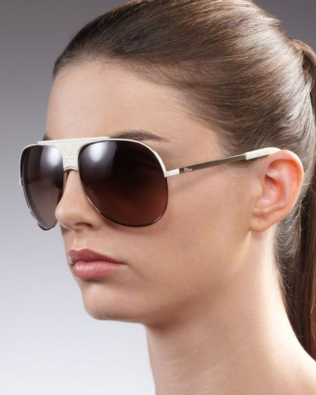 Dior Cannagedetailed Aviator Sunglasses White in Brown (gold brown)