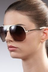 Dior Cannagedetailed Aviator Sunglasses White in Brown (gold brown) - Lyst