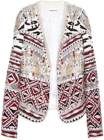 Emilio Pucci Embellished Wool Silk and Cottonblend Jacket - Lyst