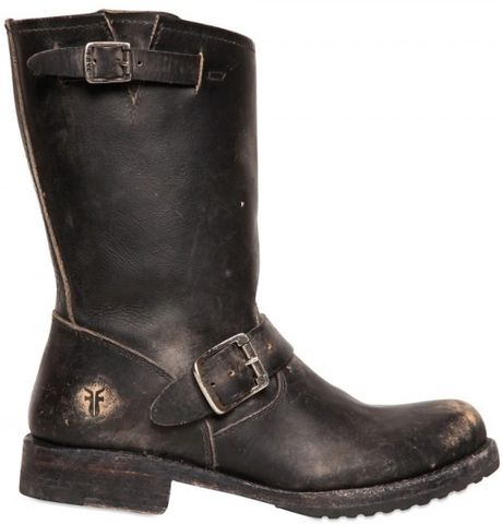 frye washed leather boots in black lyst