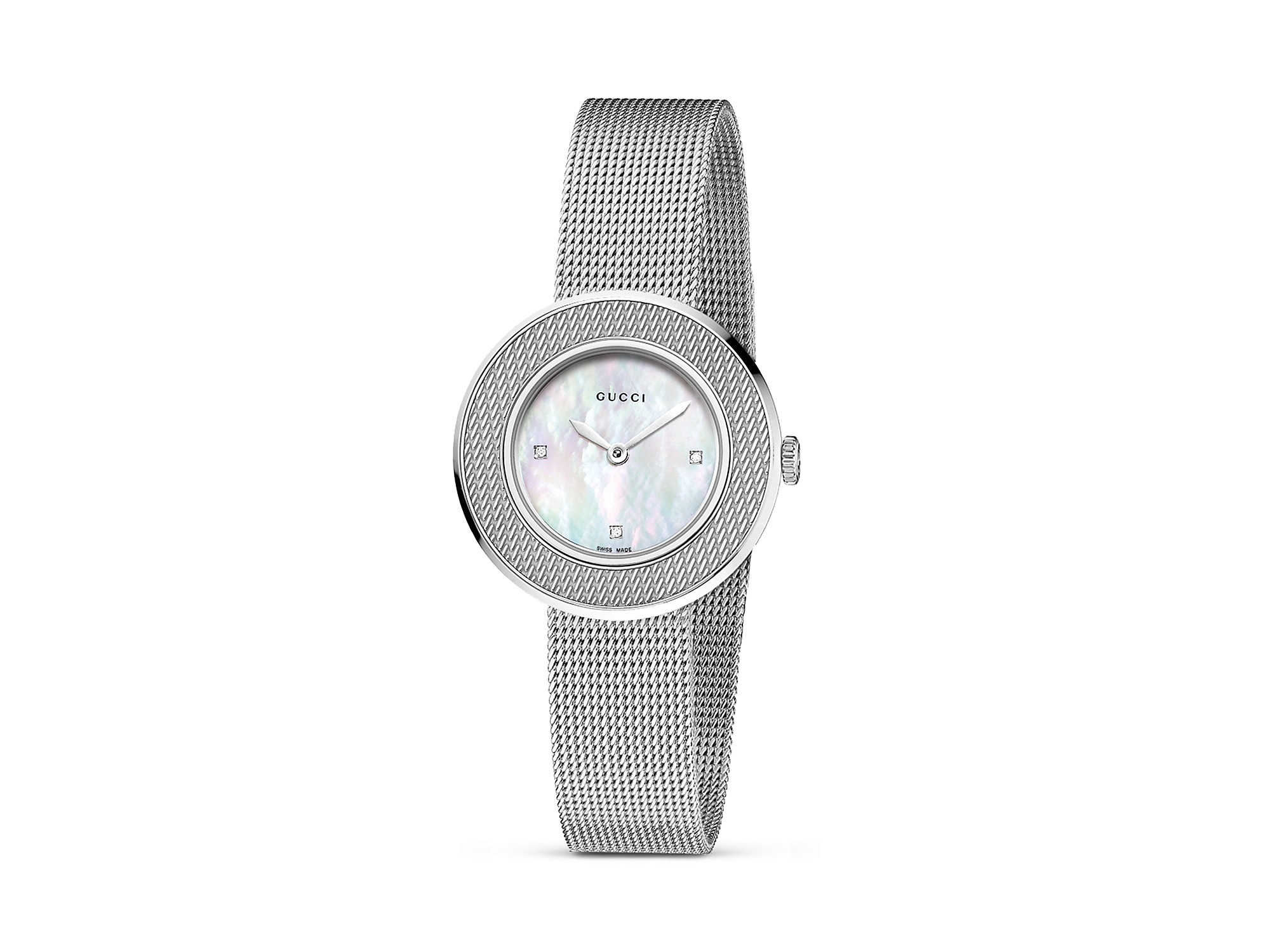 b15e5e5acee Lyst - Gucci U Play Stainless Steel Mother Of Pearl Mesh Bracelet ...