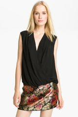 Haute Hippie Draped Surplice Top - Lyst
