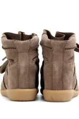 Isabel Marant Bobby Wedge Suede Sneakers in Brown (taupe) - Lyst