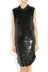 Lanvin Sheerback Paillette Embellished Silk Dress in Black - Lyst