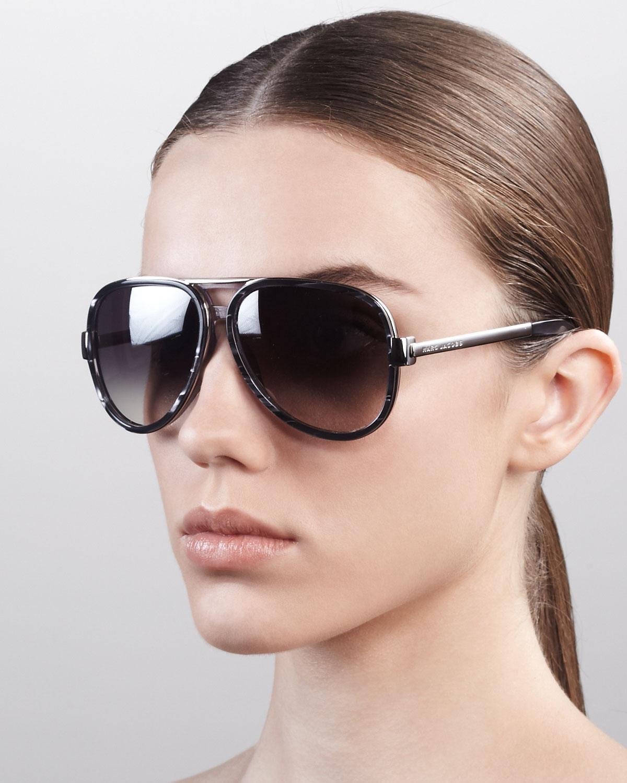 d6a56a834ef Lyst - Marc Jacobs Oversized Aviator Sunglasses Gray Spot Palladium ...