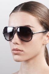 Marc Jacobs Oversized Aviator Sunglasses Gray Spot Palladium - Lyst