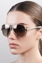 Marc Jacobs Oversized Aviator Sunglasses Sand Striated - Lyst