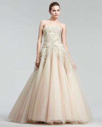 Marchesa Couture Embroidered Princess Gown - Lyst