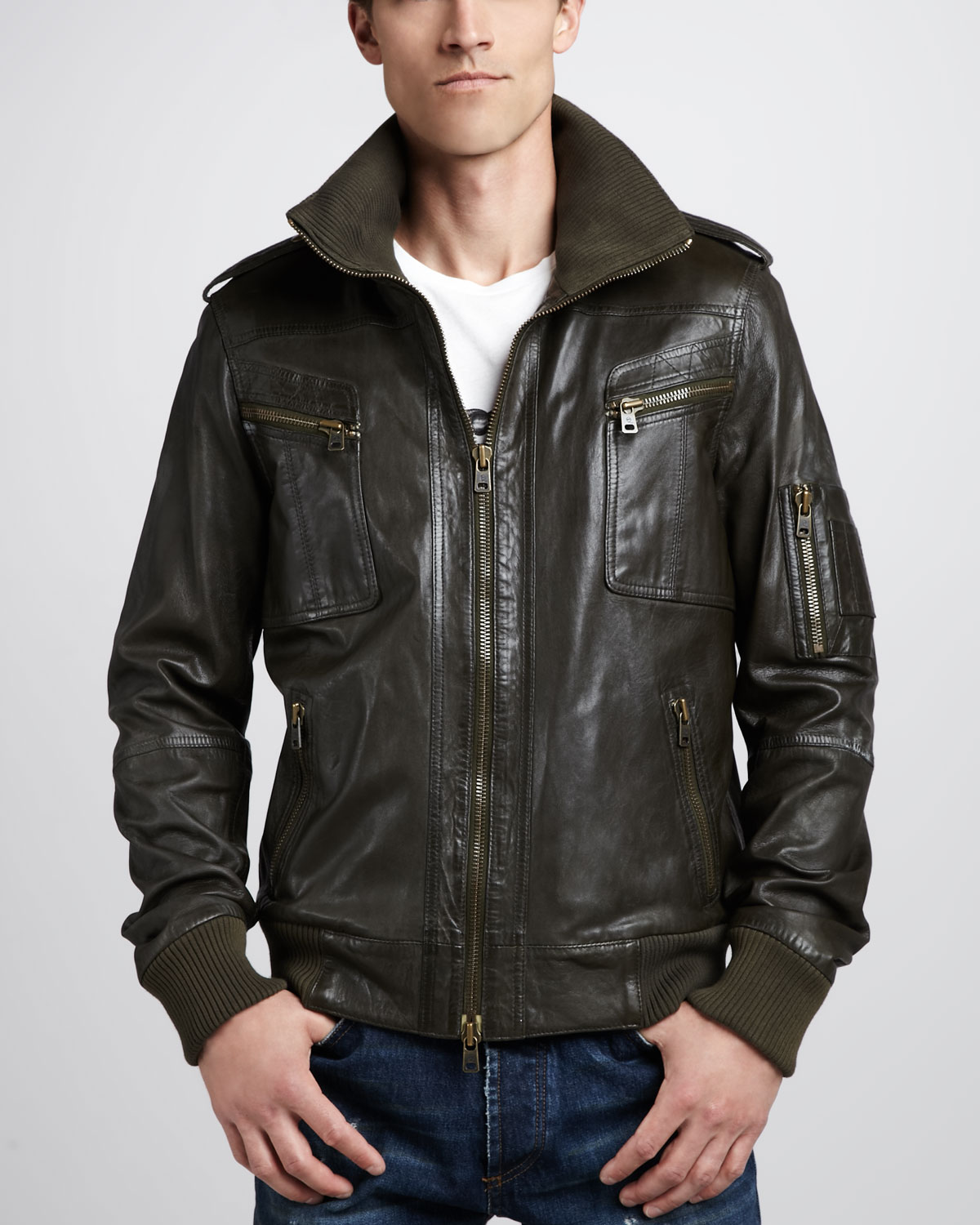 Mcq Leather Bomber Jacket in Green for Men | Lyst