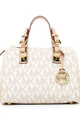 Michael by Michael Kors Grayson Signature Pvc Medium Satchel Vanilla - Lyst