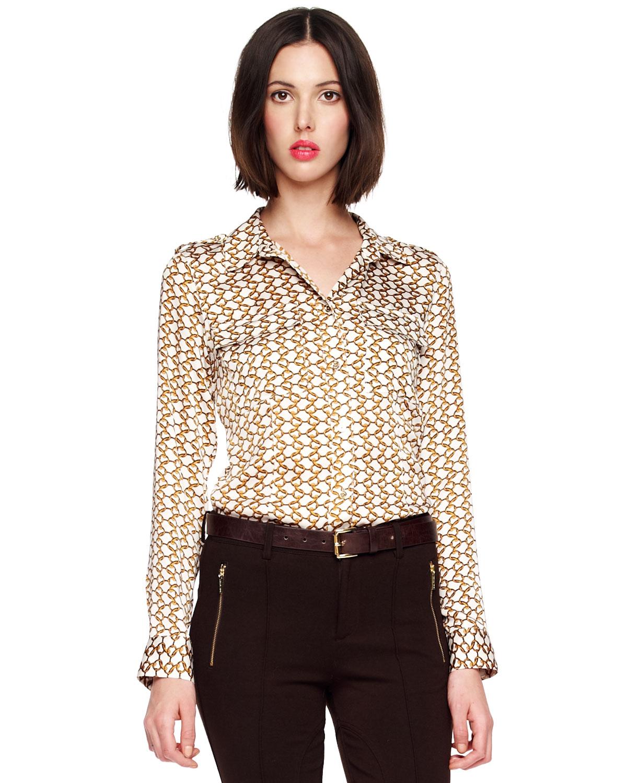 michael kors chainprint satin blouse womens in natural lyst. Black Bedroom Furniture Sets. Home Design Ideas