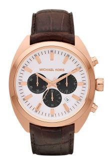 Michael Kors Mens Chocolate Leather and Rose Golden Stainless Steel Dean Chronograph Watch - Lyst