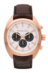 Michael Kors Chocolate Leather and Rose Golden Stainless Steel Dean Chronograph Watch - Lyst