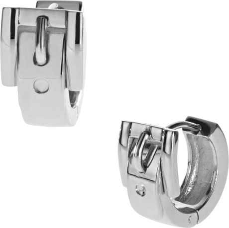 Michael Kors Buckle Huggie Earrings Silver Color in Silver (one size) - Lyst