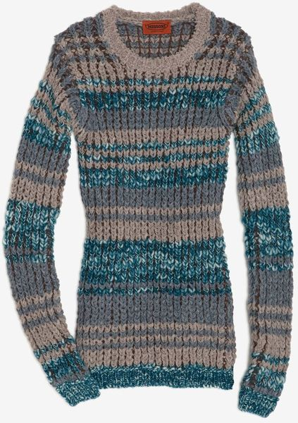 Missoni Crochet Knit Sweater in Blue - Lyst