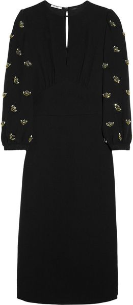 Miu Miu Embellished Crepe Dress - Lyst