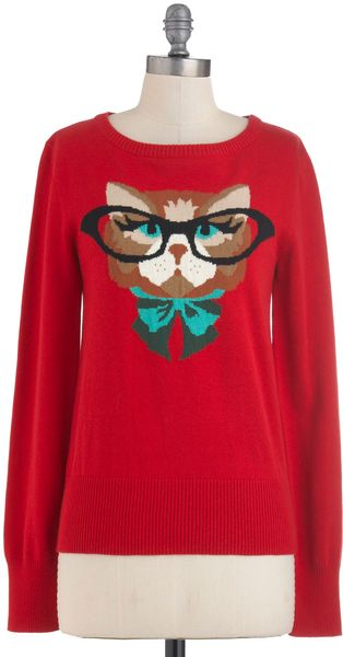 Modcloth Cat Eyeglasses Sweater in Red in Red - Lyst
