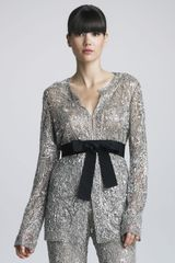 Naeem Khan Sequined Belted Jacket - Lyst