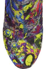 Nicholas Kirkwood Geometricheel Printed Silkcovered Leather Ankle Boots in Multicolor (black) - Lyst