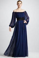 Notte By Marchesa Cord Detail Off Shoulder Gown - Lyst