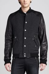 Pierre Balmain Leather Sleeve Bomber Jacket - Lyst