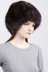 Rachel Zoe Fox Fur Hat Brown - Lyst