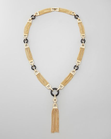 Rachel Zoe Chain Tassel Necklace in Gold - Lyst