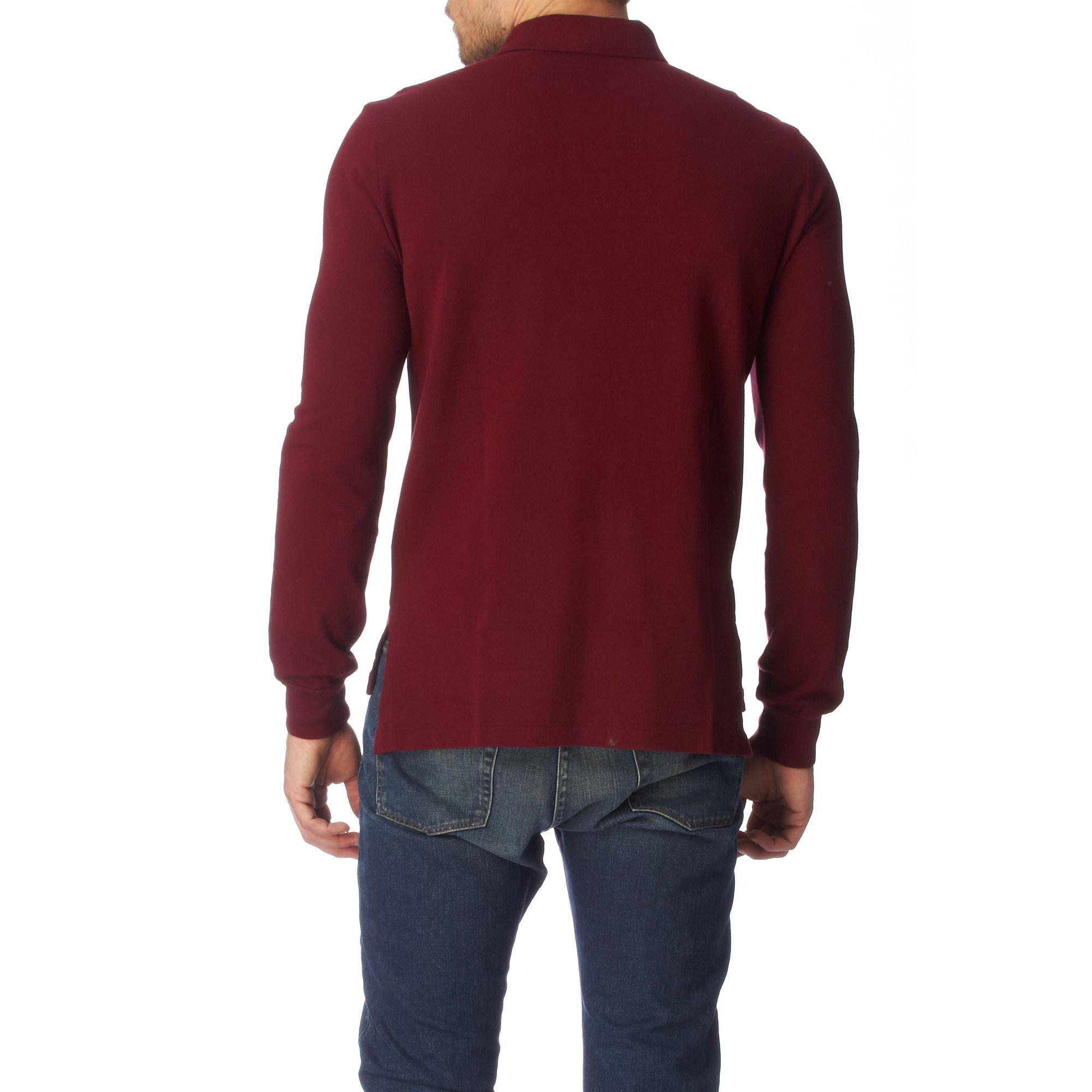 Ralph Lauren. Red Long-sleeved Custom Dual Match Polo Shirt