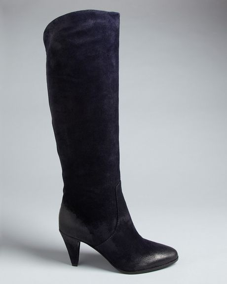 Rebecca Minkoff Tall Boots Boston Mid Heel In Blue Navy