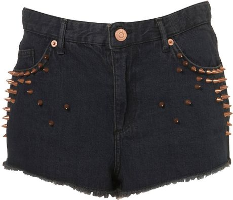 Topshop Studded High Waist Hotpants in Black - Lyst