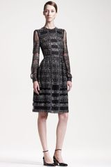 Valentino Beaded Long Sleeve Dress in Black - Lyst