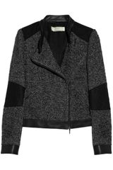 Vanessa Bruno Athé Leather Trimmed Tweed Biker Jacket - Lyst