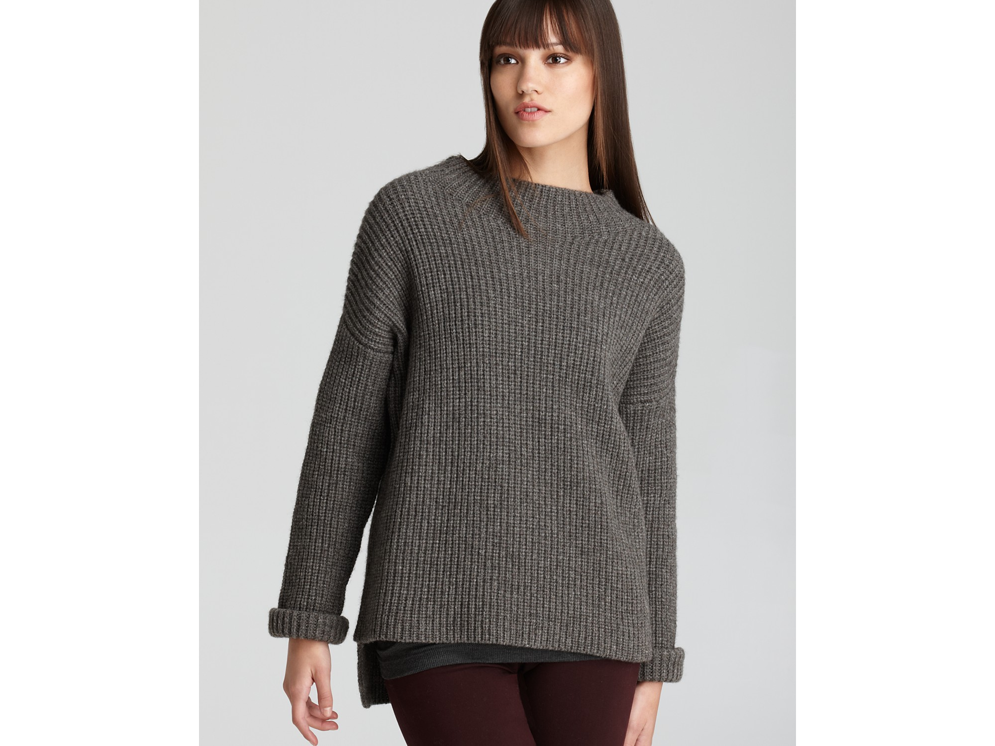 Stitch Knitted Sweater Together : Vince Sweater Rib Stitch Shaker Knit Crew in Gray Lyst