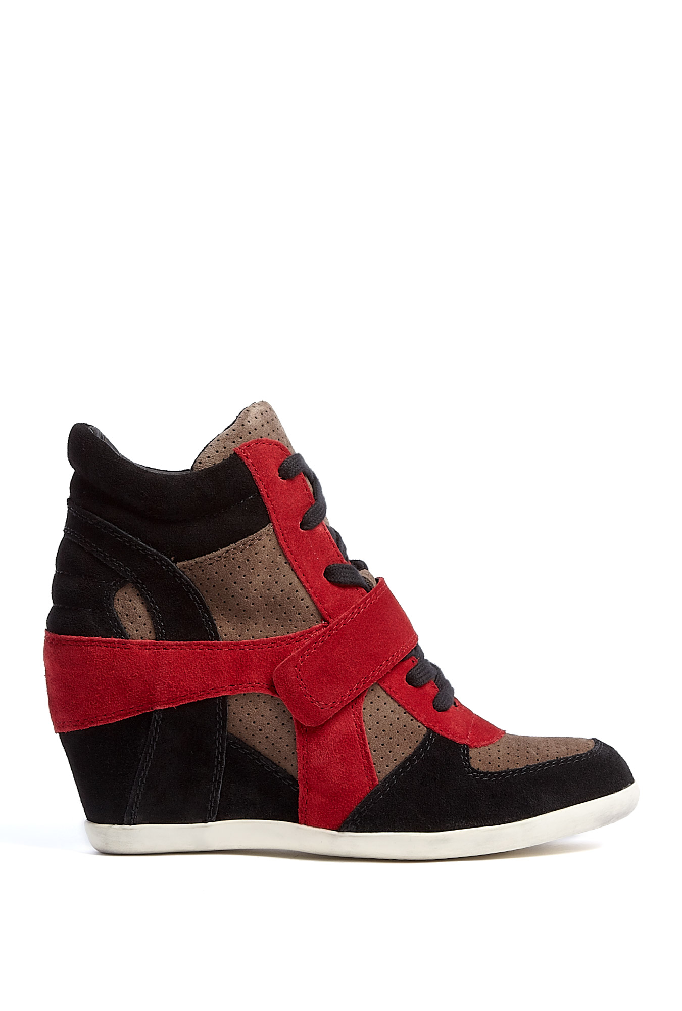 ash black taupe and winter red suede bowie wedge trainers