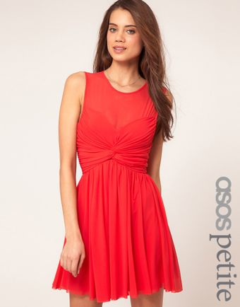 Asos Skater Dress with Twist and Mesh - Lyst