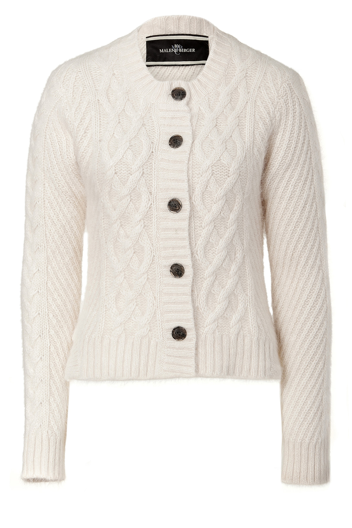 By malene birger Ivory Cable Knit Cardigan in White | Lyst