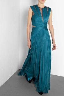 Catherine Deane Blue Mercury Long Pleated Tulle and Lace Gown - Lyst