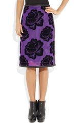 Christopher Kane Leather Trimmed Flocked Tulle Pencil Skirt in Purple - Lyst