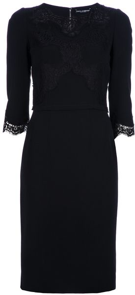 Dolce & Gabbana Lace Detail Pencil Dress - Lyst