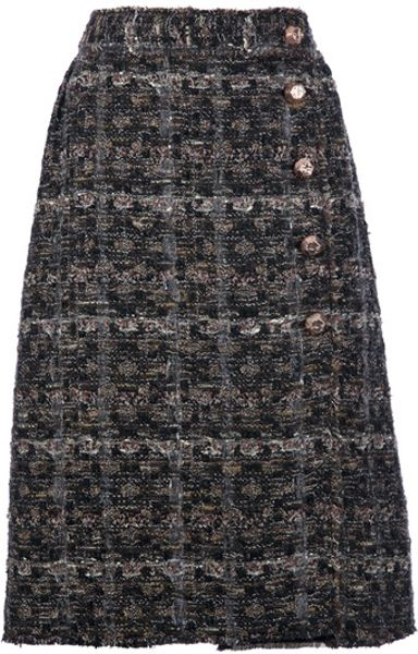 Dolce & Gabbana Tweed Skirt in Brown - Lyst