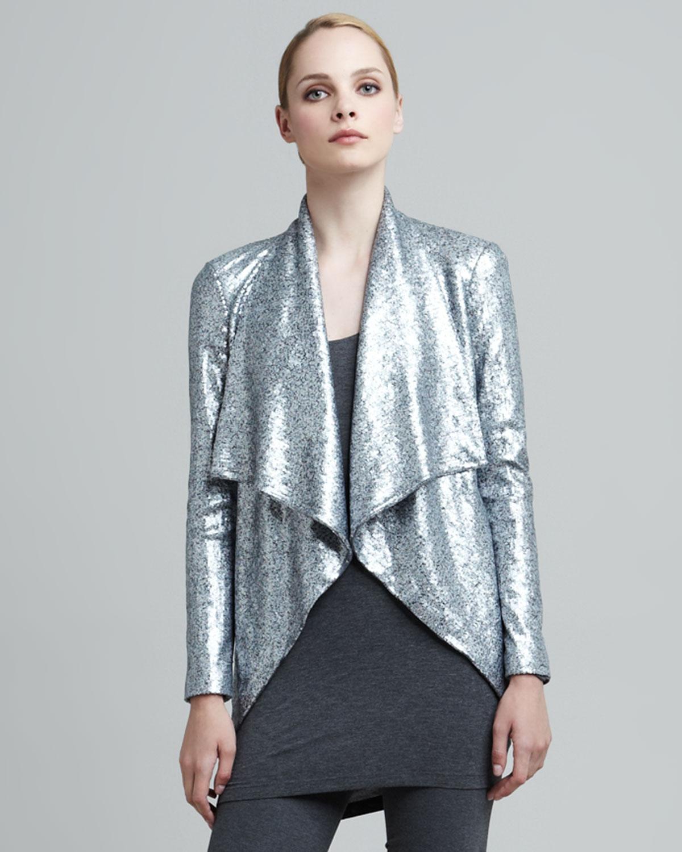 Lyst Donna Karan Sequined Cascade Collar Jacket In Metallic