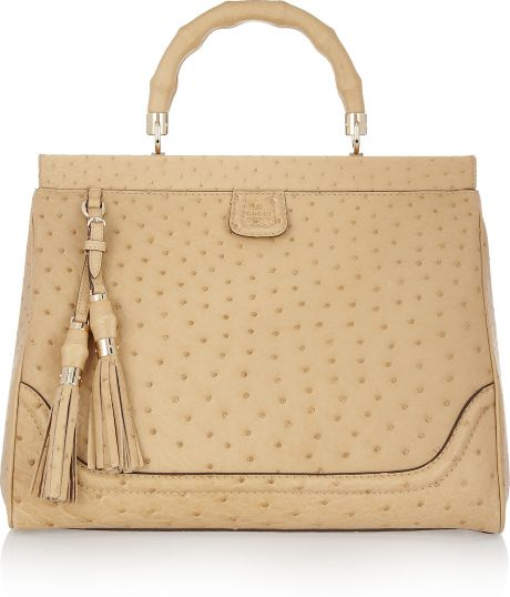 Gucci Ostrichleather Tote in Beige (wheat)