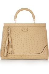 Gucci Ostrichleather Tote in Beige (wheat) - Lyst